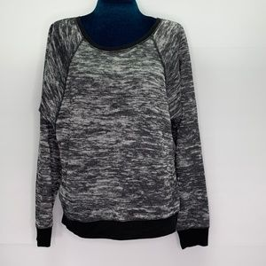 Tahari Large Sweatshirt Top Crew Gray Heathered